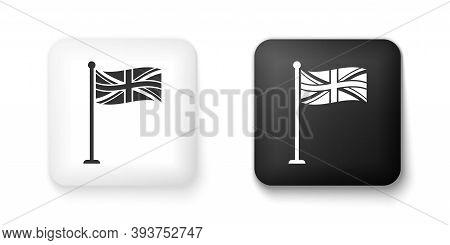 Black And White Flag Of Great Britain On Flagpole Icon Isolated On White Background. Uk Flag Sign. O