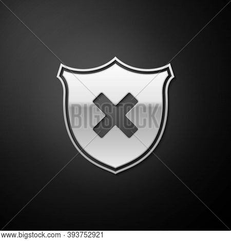 Silver Shield And Cross X Mark Icon Isolated On Black Background. Denied Disapproved Sign. Protectio