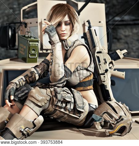 Special Operations Female Solder Sitting On The Hood Of An Armored Vehicle With A Little Down Time B