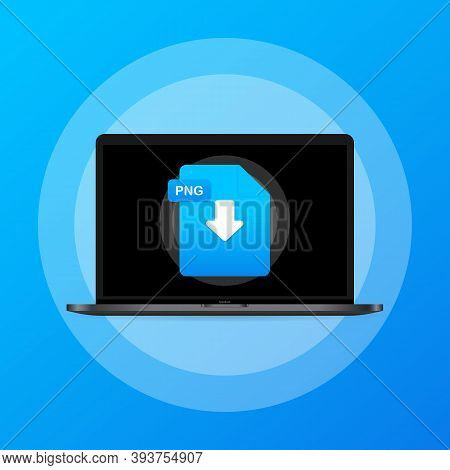 Laptop And Download Png File Icon. Document Downloading Concept. Png Label And Down Arrow Sign. Vect