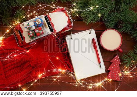 Christmas And New Year Mockup.christmas To-do List.empty Notebook,mug Of Tea, Scarf, Sparkling Garla