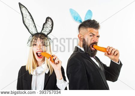 Funny Easter. Bunny Couple Celebration On Easter Day. Funny Serious Easter Bunny. Couple On Easter N