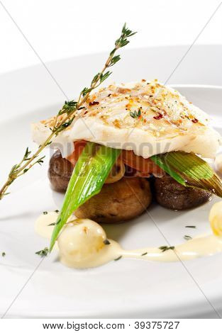 Hot Fish Dishes - Halibut fillet with Mushrooms, Tomatoes and Bacon poster