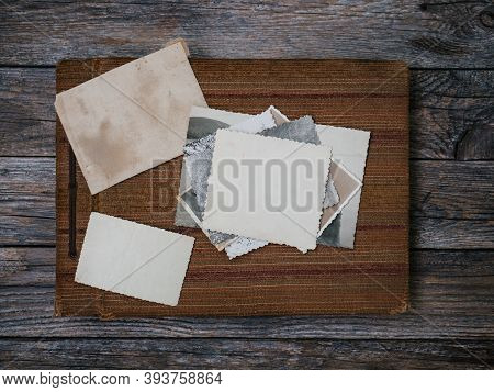 Clear Retro Blank Photo Frames To Placed Your Pictures Or Text On Vintage Home Photo Album On Wooden