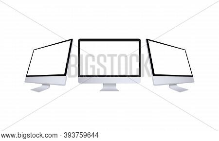 Realistic Computer Monitor In Front And Side View. Metal Desktop Mockup With White Screen. Template