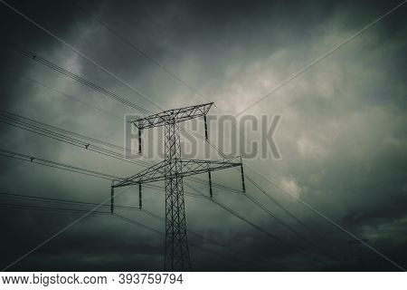 Silhouette Of Transmission Towers, Power Tower, Electricity Pylon, Steel Lattice Tower At Twilight I