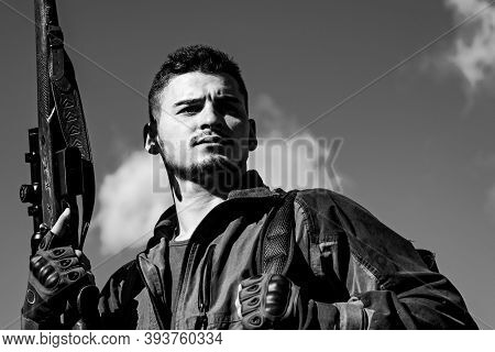 Man Holding Shotgun. Hunter Man. Hunting Period, Autumn Season. Hunter With A Hunting Gun And Huntin
