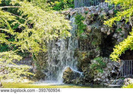 Waterfall In Buen Retiro Park, Madrid, Spain