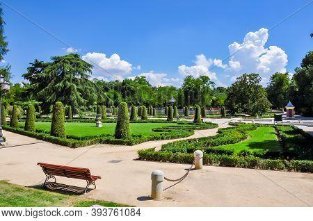 Buen Retiro Park Landscape In Madrid, Spain