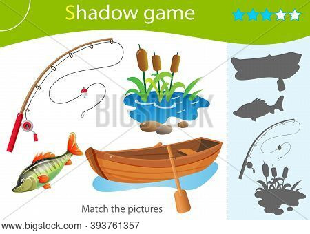 Shadow Game For Kids. Match The Right Shadow. Color Image Of Cartoon Boat With Paddles, Fishing Rod