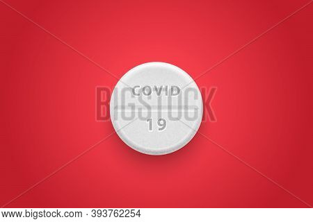 Vector 3d Realistic White Pill Closeup On Red Background. Covid 19 Cure Drug Concept. Antiviral Drug