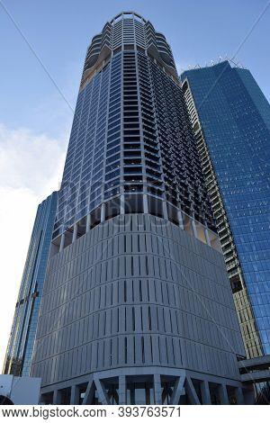 The Big Bulding Skyscraper In Blue Sky Background