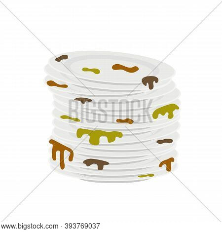 Stacks Of Dirty Plates With Scraps And Leftover Food Isolated On White Background. Vector Illustrati