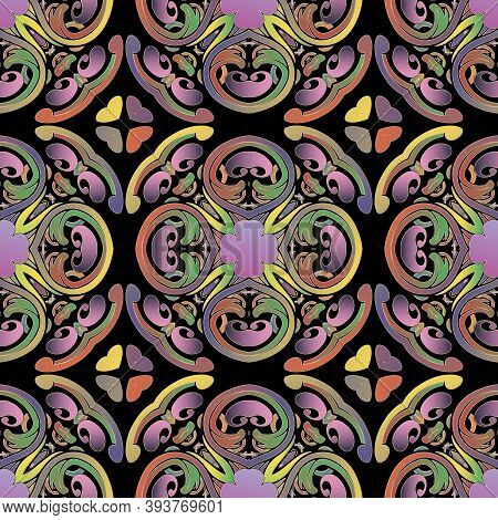 Paisley Seamless Pattern. Ornamental Colorful Vector Background. Repeat Backdrop. Decorative Intrica