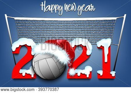 Snowy New Year Numbers 2021 And Volleyball Ball In A Christmas Hat On The Background Of The Grid. Cr