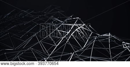 Network Connection Structure. Science Background. Abstract Molecules Design. Black Atoms. Background
