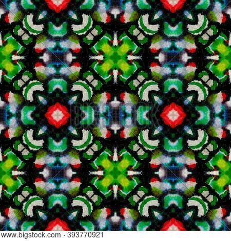 Aztec Lace Pattern. Abstract Shibori Design. Seamless Tie Dye Rapport. Ikat Persian Design. Black, G