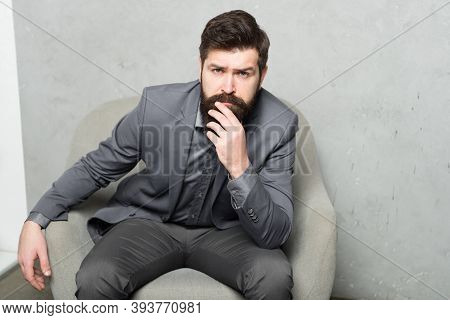 Decision Making Is Part Of Management. Man Bearded Businessman Thoughtful Face Solving Problem Makin