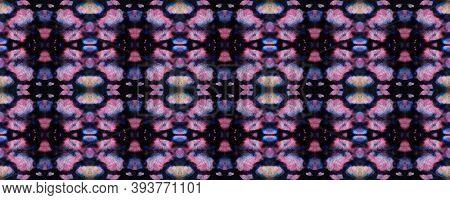 Ethnic Aztec Pattern. Repeat Tie Dye Ornament. Ikat Persian Design. Black And Pink Snake Seamless Te