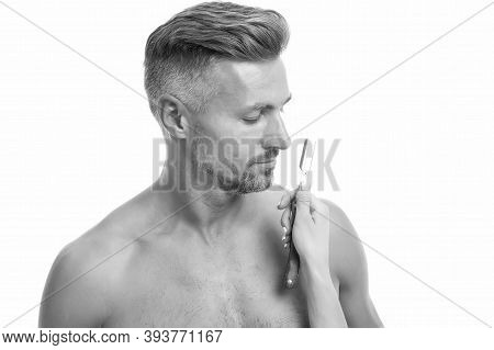 Sexy Man Shaving Face. Athletic Guy With Sexy Muscular Torso. Hygiene Routine. Wellness And Spa. Hea