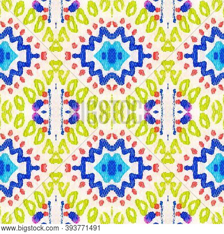 Ethnic Pattern. Abstract Batik Motif. Blue, Pink, Red And Green Seamless Texture. Seamless Tie Dye R