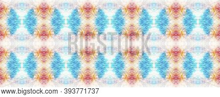 Kaleidoscope Background.  Pastel Violet, Blue And White Textile Print. Multicolor Natural Ethnic Ill