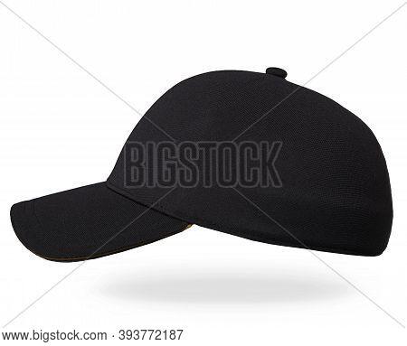 Blank Black And White Baseball Cap Mockup Set, Profile Side View. Black Baseball Cap Isolated On Whi