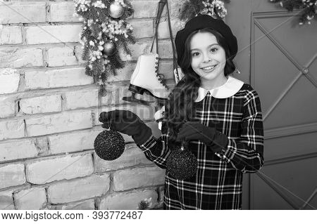 Decorate For Xmas With Me. Happy Girl Hold Xmas Tree Balls. Small Child Smile With Xmas Decoration.