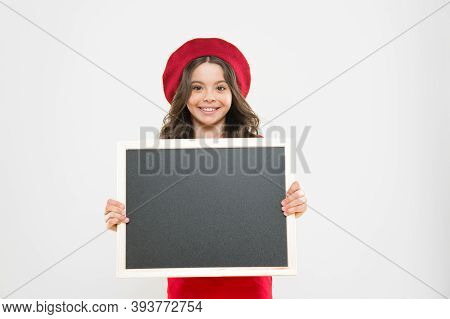 Little Girl Kid With Backboard, Copy Space. Board For Announcement Advertisement. Back To School. Sc