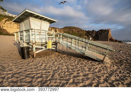 Lifeguard tower at Westward Beach in scenic Malibu. California.