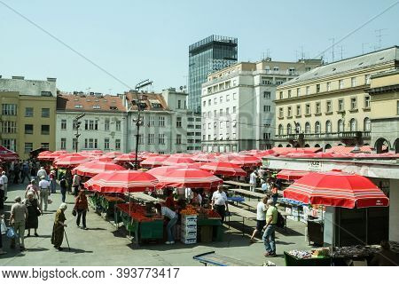 Zagreb, Croatia - June 2, 2008: Trznica Dolac Market Seen From Above With Its Red Umbrellas. Dolac I
