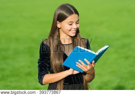 Feed The Mind. Happy Child Read Library Book. Cute Bookworm Study Green Grass. School Library. Readi