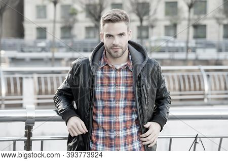 Cool And Confident. Facial Hair And Skin Care Concept. Handsome Face. Handsome Man Unshaven Face And