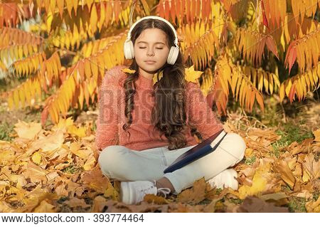 Schoolgirl Study. Girl Read Book Autumn Day. Self Education Concept. Child Enjoy Reading. Visual And