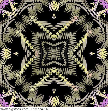 Colorful Zigzag Stitching Embroidery Seamless Pattern. Ornamental Vector Tapestry Background. Floral