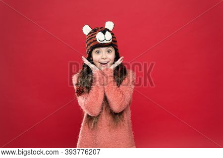 Bright Memories. Happy Teen Girl Wear Warm Clothes. Feel Comfortable And Cozy In Any Weather. Winter