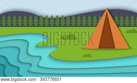 Beauty Landscape Summer Camp Papercut Style Background Vector Illustration Image