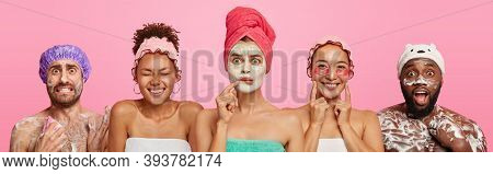 Set Of Mixed Race People Express Wonder And Happiness, Enjoy Beauty Procedures, Wash Body With Foami