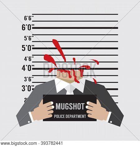Man Prisoners Were Executed With Beheading Mugshot Vector Illustration. Eps 10