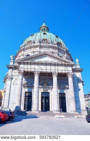 Church With Largest Cupola In Scandinavia . Lutheran Frederik's Church In Copenhagen Denmark