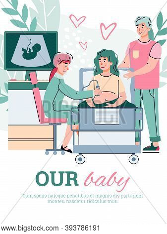 Doctor Check Up Health Of Mother And Fetus During Pregnancy. Happy Married Couple Expecting A Baby I