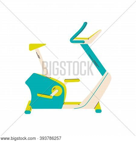 Model Of Cyclette Or Cycle Trainer Machine In Blue And Yellow Colors, Flat Cartoon Vector Illustrati