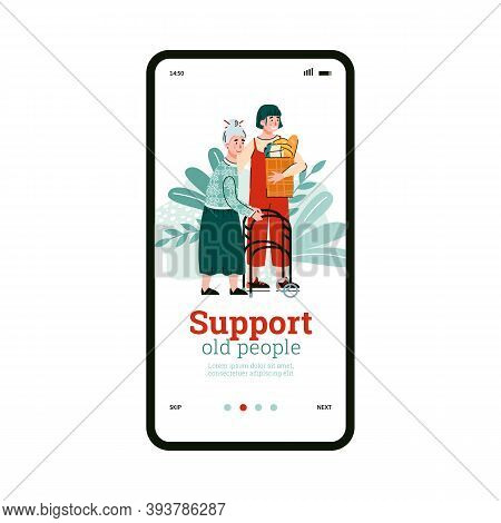 Phone Screen With Mobile App For Support, Help Aged People With Disabilities. Girl Social Worker Or