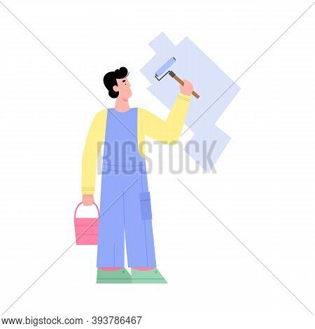 Craftsman, House Painter, Handyman Or Workman In Uniform Painting White Wall With Roller Blue Paint.