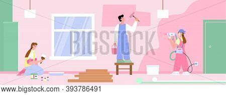 Brigade Of Painters Painting Walls In Room, Flat Cartoon Vector Illustration. Promo Banner For Color