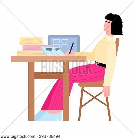 Bored Tired Cartoon Woman Office Worker At Workplace, Flat Vector Illustration Isolated On White Bac