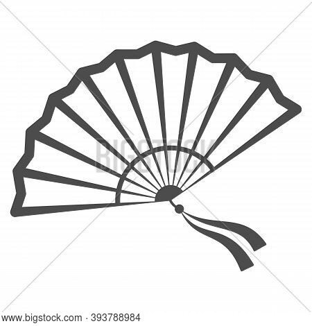 Chinese Fan Line Icon, Chinese Mid Autumn Festival Concept, Traditional Fan With Ribbons Sign On Whi