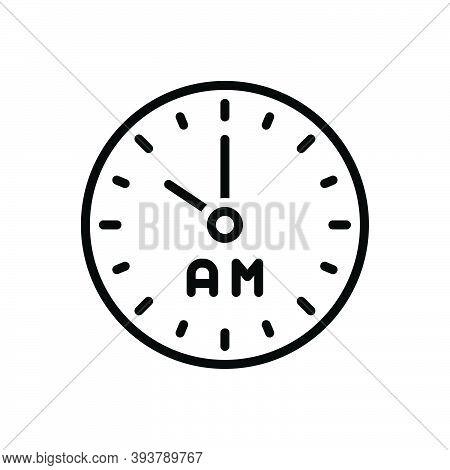 Black Line Icon For Am Morning Clock Watch Timer Timepiece Horologe Ante-meridiem Alarm Time Analog