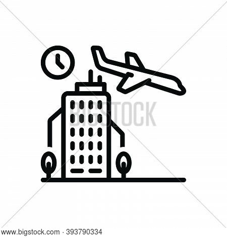 Black Line Icon For Arrival Coming Airplane Landing Aircraft Airliner Advent Appearance Entrance Ent