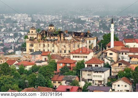 Destroyed building in Sarajevo after the war in Sarajevo, Bosnia and Herzegovina. Signs of bosnian war in modern Sarajevo